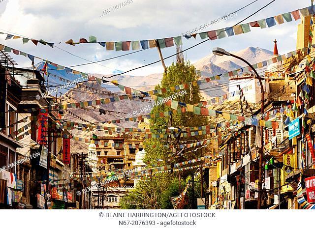 Main Bazaar Road, old Leh, Ladakh, Jammu and Kashmir State, India