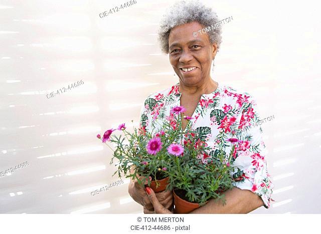 Portrait smiling, confident active senior woman gardening, holding flowerpots