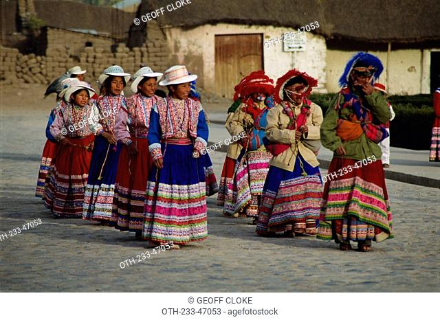Local dancers outside the church in the small village of Yanque, Colca Canyon, Peru