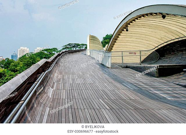 SINGAPORE-AUG 23: Henderson Waves is the highest pedestrian bridge in Singapore. It was built to connect the two hills of Mount Faber and Telok Blangah Hill