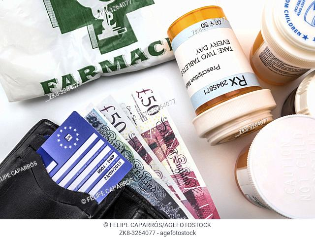 European health insurance card along with several capsules, concept of medical increase in the crisis of the brexit, conceptual image, horizontal composition