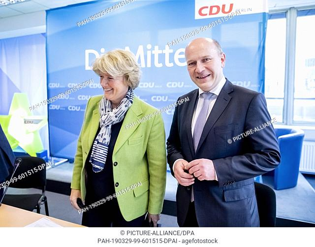 29 March 2019, Berlin: Monika Grütters (CDU), outgoing state chairwoman of the CDU Berlin, and Kai Wegner, candidate for party chairmanship of the Berlin CDU