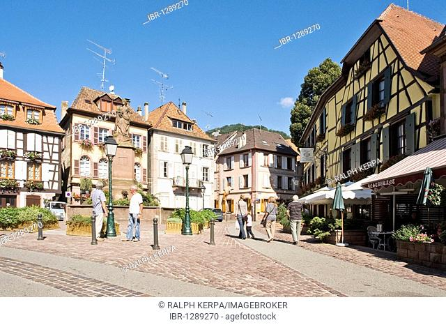 Half-timbered houses in the historic town centre of Ribeauville, Alsace, France, Europe