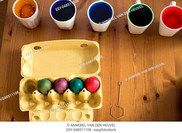 Colorful easter eggs. Coloring. Preparation of the Easter, painting eggs, colorful