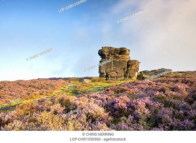 England, Derbyshire, Longshaw Estate, Mother Cap, a rocky outcrop on Owler Tor in the Peak District National Park