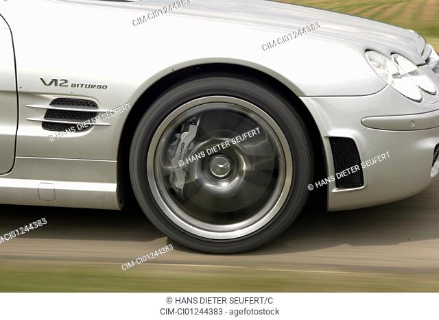 Car, Mercedes SL 65 AMG, Convertible, model year 2004-, silver, Tuning, Detailed view, Front tyres, Front wheel, technique/accessory, accessories, driving