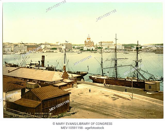 The Russian cathedral and the harbor, Helsingfors, Russia, i.e., Helsinki, Finland. Date between ca. 1890 and ca. 1900