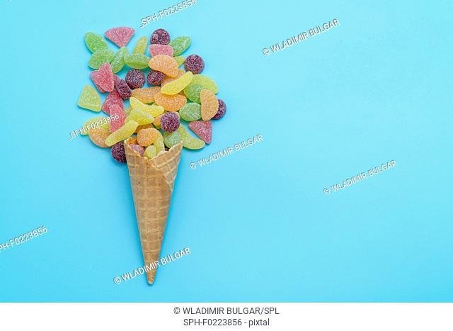Sweets in waffle cone