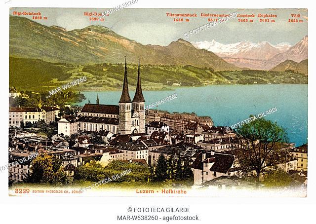 LUZERN 'Hofkirche.' Vista panoramica della città sul Lago dei Quattro Cantoni e sfondo montano. Cromolitografia da originale bianconero colorato a mano
