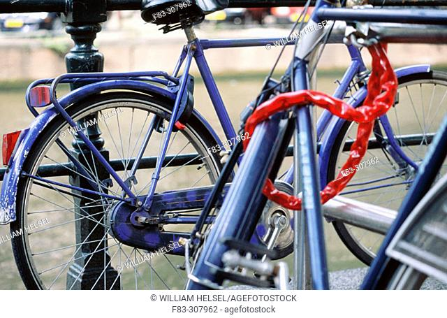 Bicycles beside Herengracht Canal. Amsterdam, Holland