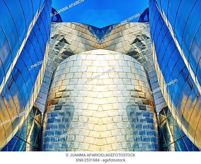 Detail of Guggenheim Museum, Bilbao, Biscay, Basque Country, Euskadi, Spain, Europe