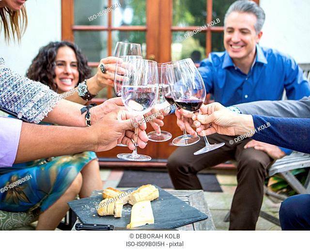 Mature adults friends making wine toast at garden party on patio