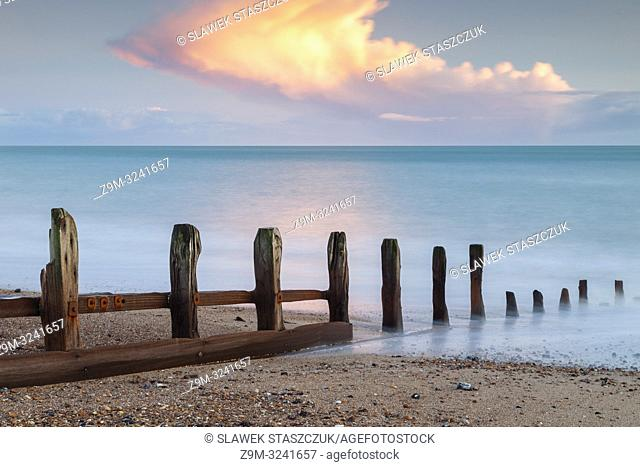 Winter sunset on the beach in Shoreham-by-Sea, West Sussex, England