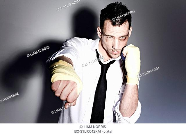 Man in a shirt boxing