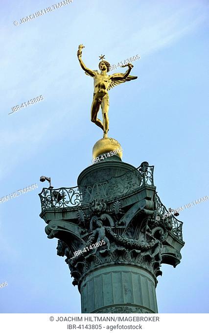 Statue of the Genius of Liberty, Le Génie de la Liberté, Augustin-Alexandre Dumont on the July Column, Colonne de Juillet, Place de la Bastille, Paris, France
