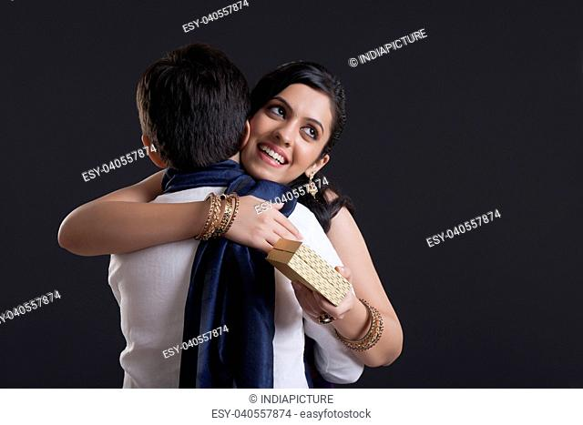 Sister hugging her brother at Bhaidooj