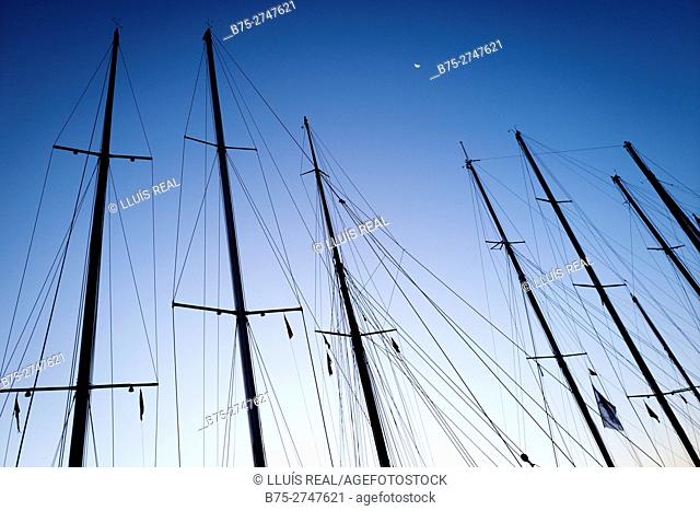 Masts of vintage sailboats in the early morning. Port of Mahó, Minorca, Balearic Islands, Spain