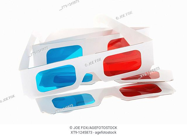 3d red cyan glasses on white background