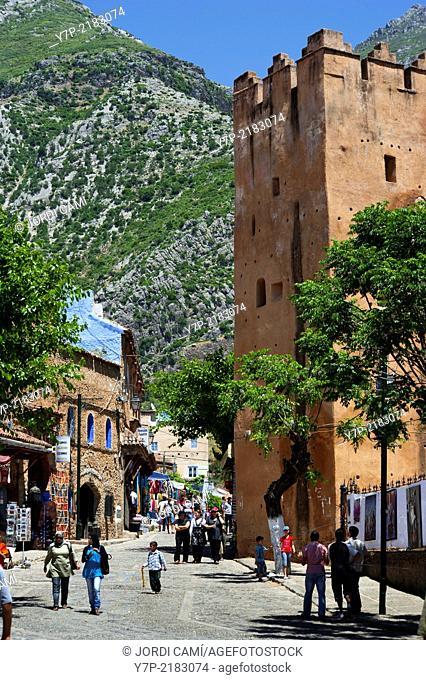 The Kasbah (Al Kasaba) tower . Chefchaouen, Rif region. Morocco.North Africa