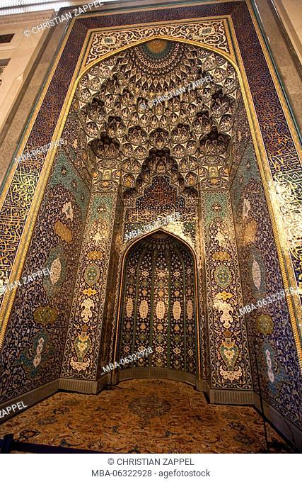 Sultan Qaboos Mosque, Medina classical architecture, Muscat, Orient, Oman, Asia