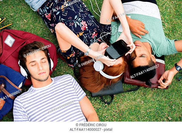 Friends lying on grass, using virtual reality simulator and listening to headphones