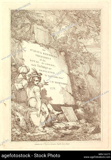 Frontispiece (from Fifteen Etchings Dedicated to Sir Joshua Reynolds). Artist and publisher: Designed, etched and published by John Hamilton Mortimer (British