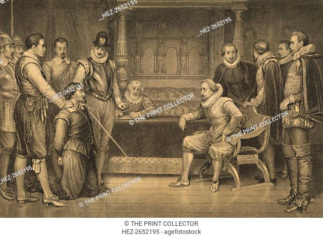 'The Gunpowder Plot', 1886. Guy Fawkes Interrogated by James I and his Council in the King's Red-Chamber, Whitehall. Fawkes (1570-1606) was an English...