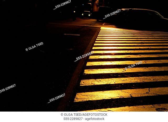 Zebra-crossing, Esplugues de Llobregat, Barcelona province, Catalonia, Spain, Europe