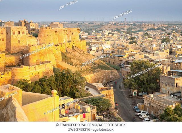 Indian town hall at summer sunrise. Jaisalmer, Rajasthan. India