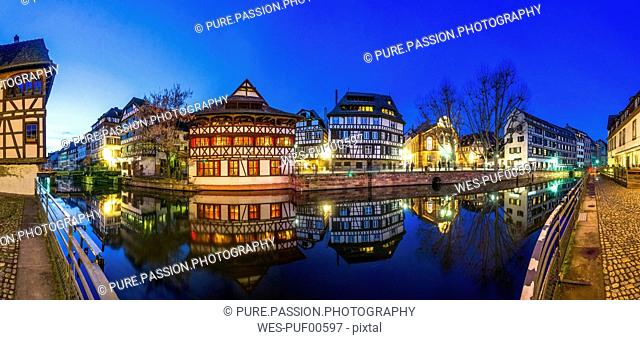 France, Strasbourg, La Petite France, with L'Ill river and half-timbered houses at blue hour