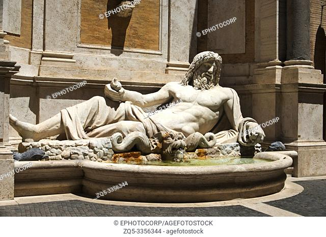 Closer view of a statue of a reclining priest, Capitoline Museum, Rome