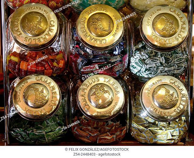 Old sweet and biscuit jars, Asturias, Spain