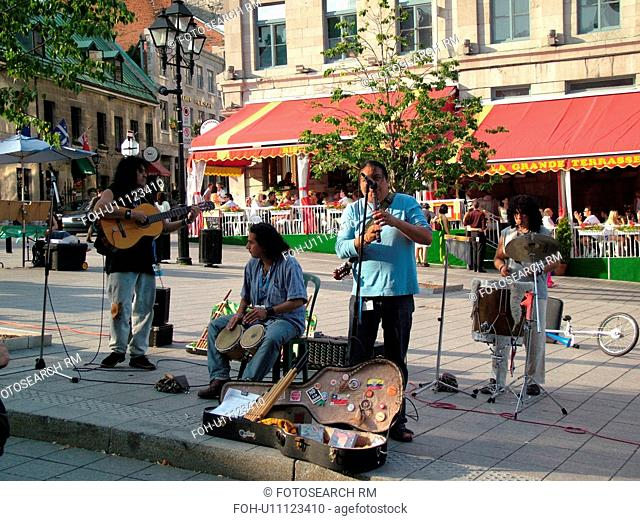 Montreal, Canada, QC, Quebec, Old Port, Old Montreal, Place Jacques Cartier, street musicians