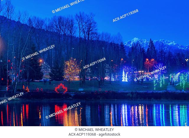 Holiday Light display, Lafarge Lake, Town Centre Park, Coquitlam, British Columbia, Canada