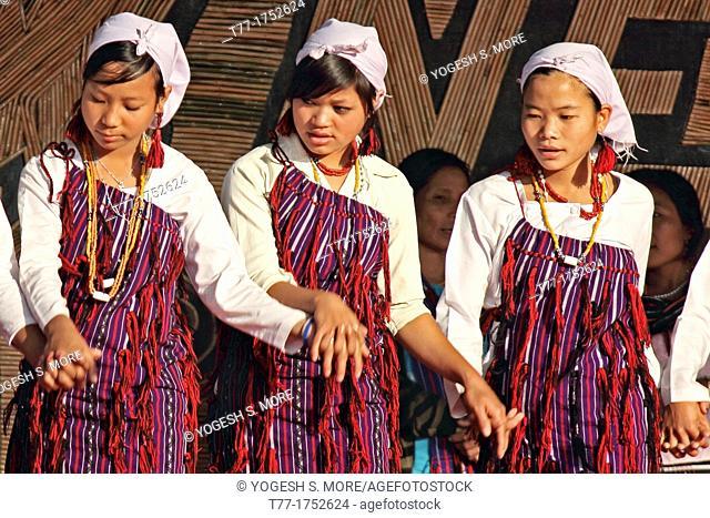 Tangsa Girls, Pangwa performing dance at Namdapha Eco Cultural Festival, Miao, Arunachal Pradesh, India