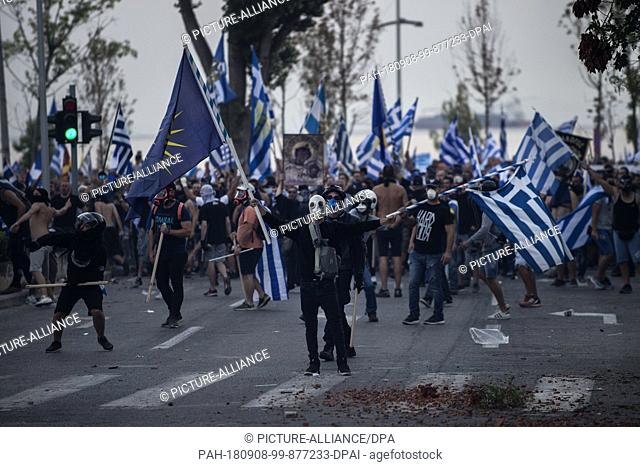 08 September 2018, Greece, Thessaloniki: During a demonstration against the agreement between Greece and Macedonia during the opening of the 83rd International...