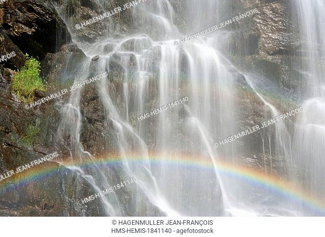 Italy, Aosta valley, Gran Paradiso, waterfall in Val Grisenche in spring