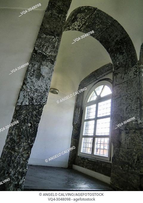 Internal view of Conservatorio di Sant'Anna, Abbey of S. Lorenzo now Universita degli Studi della Campania ''Luigi Vanvitelli'', Aversa, Campania, Italy