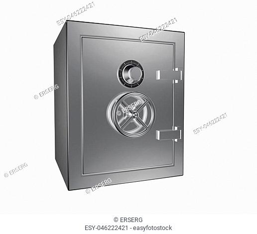 steel safe box isolated on white background 3D render