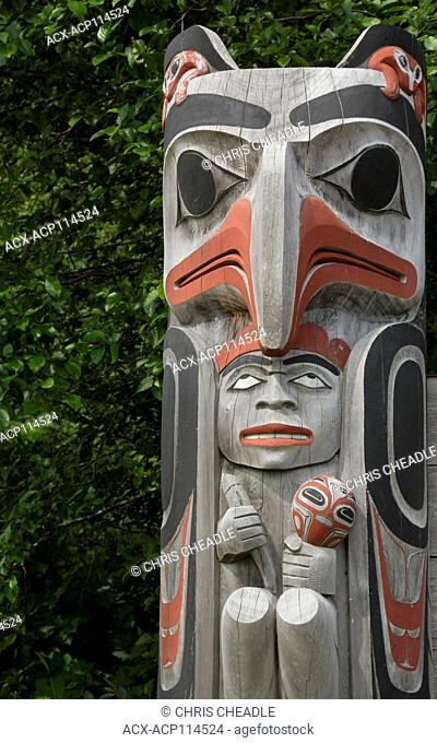 Welcome sign detail, Old Massett, Haida Gwaii, formerly known as Queen Charlotte Islands, British Columbia, Canada