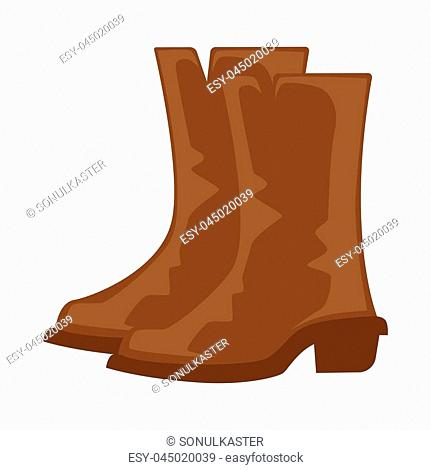 Brown boots pair isolated on white vector illustration in flat design. Dark long leather shoes for cold weather with hard base and small heels in western cowboy...