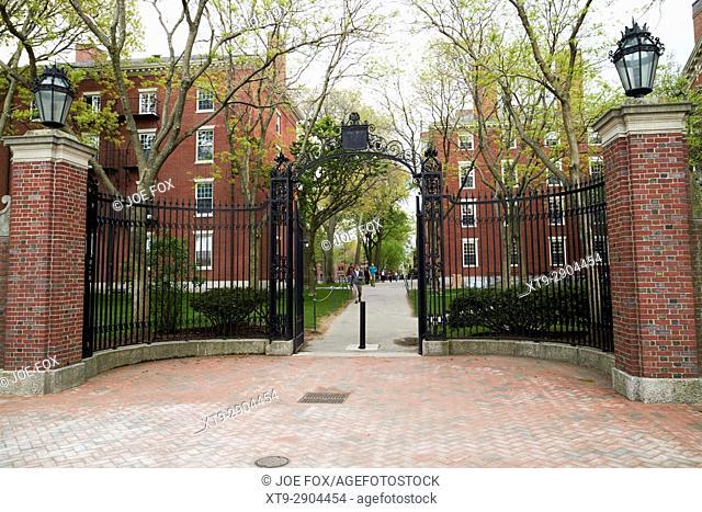 holworthy gate entrance to harvard university Boston USA