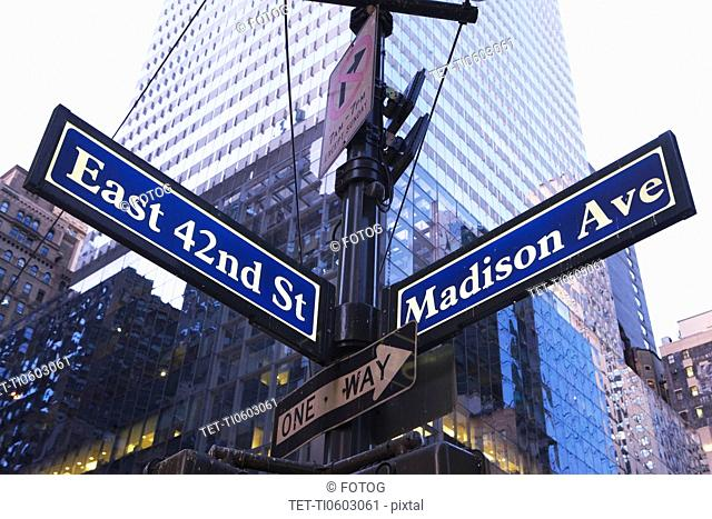 USA, New York State, New York City, low angle view of street name sign