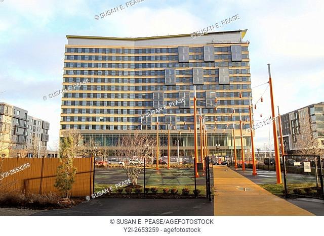 January 2016, Aloft Boston Seaport hotel, Boston, Massachusetts, United States, North America. The hotel opened in February, 2016