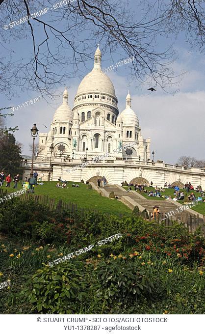 Basilica of Sacré-Cœur, as seen from the base of the butte Montmartre, Paris, France, Europe