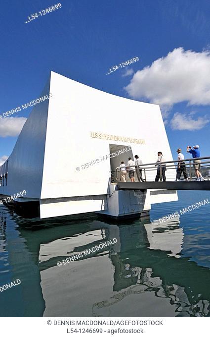 Visitors entering USS Arizona Memorial Pearl Harbor Pacific National Monument Hawaii Battleship Row