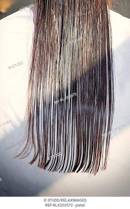 Close up long wet straight hair hairdresser salon