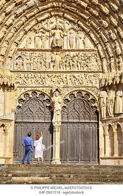 France, Cher (18), Bourges, St Etienne cathedral, UNESCO world heritage, The Last Judgement, Western portal