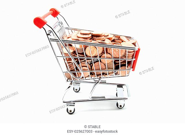 shopping cart full of coins