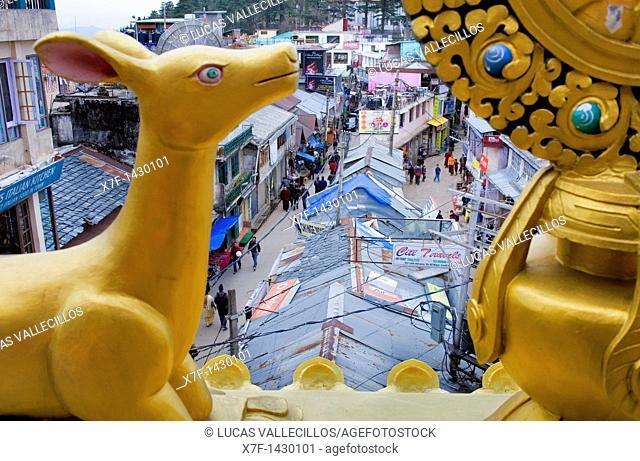 At left Jogibara street and Main Bazar at right, from Stupa,McLeod Ganj, Dharamsala, Himachal Pradesh state, India, Asia